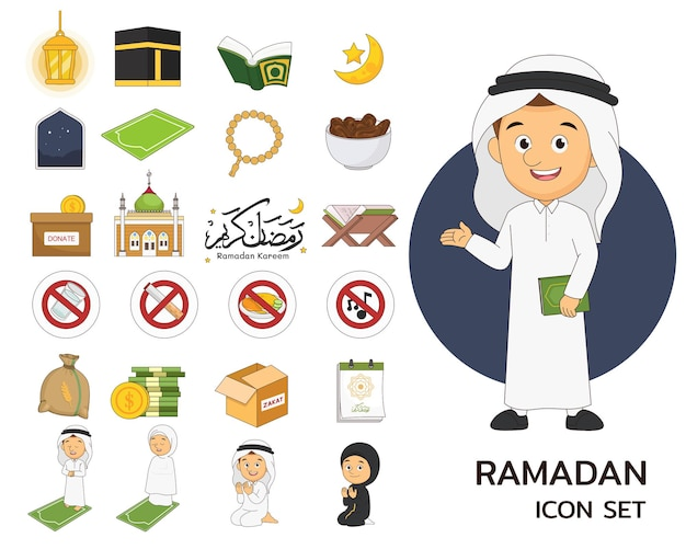 Ramadan consept icone piatte, ramadan kareem, felice digiuno ramadan simpatico cartone animato illustrazione araba