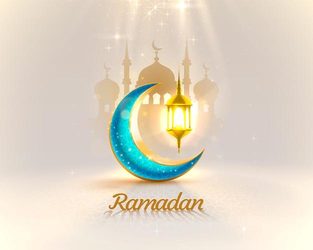Carta di copertina del ramadan, vista notturna della moschea disegnata dal fondo dell'arco