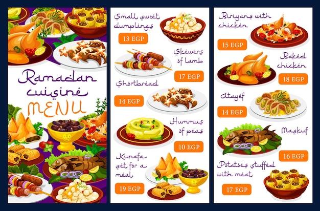 Menu di cucina del ramadan, cibo iftar e pasti islamici per eid mubarak
