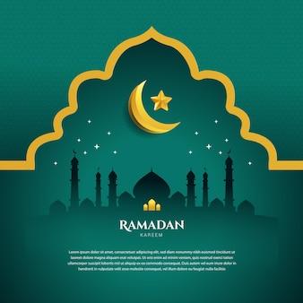 Ramadan eid mubarak banner verde combinazione di colori oro