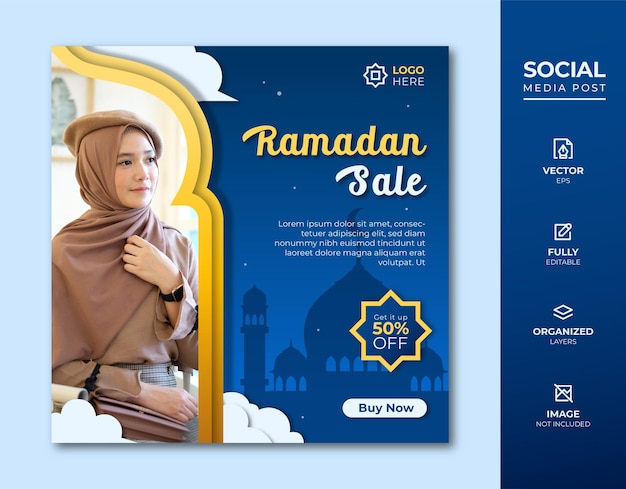 Ramadan fashion sale social media post modello.