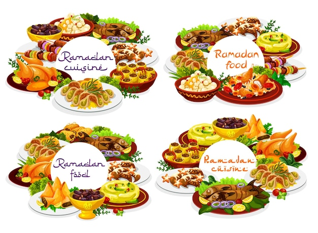 Cibo del ramadan, piatti del menu iftar eid mubarak