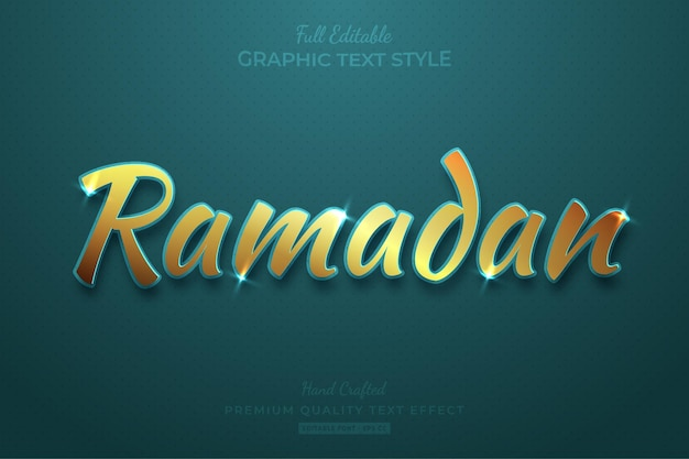 Stile carattere modificabile effetto testo ramadan gold