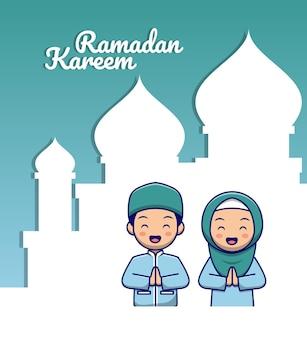 Cartolina d'auguri di ramadan con bambini musulmani simpatico cartone animato