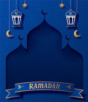 Biglietto di auguri di ramadan con moschea di arte di carta e lanterne