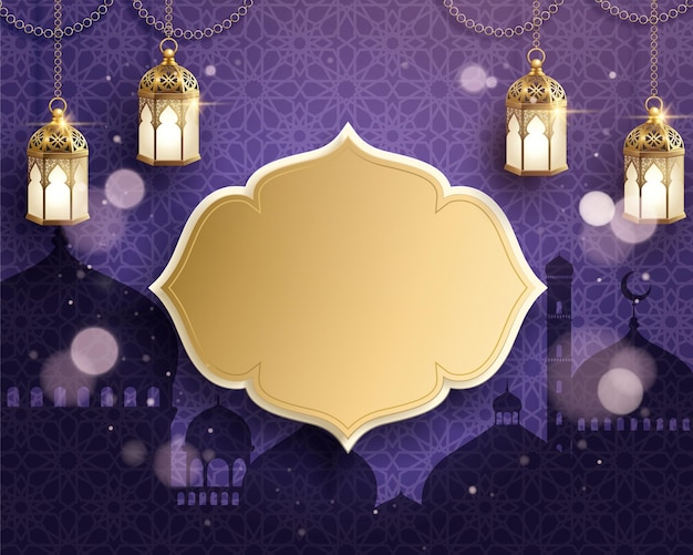 Lanterne appese del ramadan sulla superficie della moschea viola purple