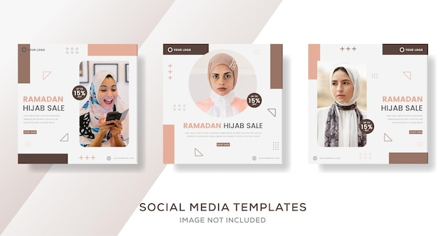 Banner hijab di ramadan per post modello di vendita di moda