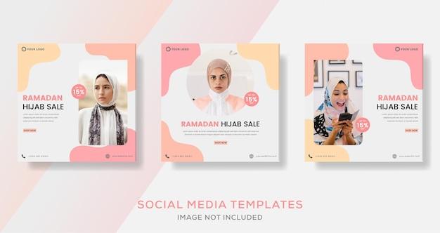 Banner di vendita di moda hijab del ramadan per post del modello sociale dei media