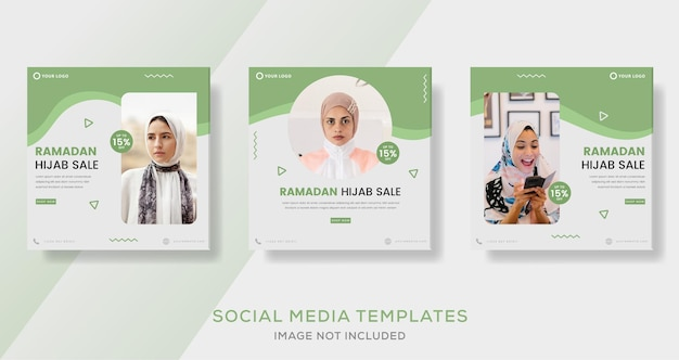 Banner di vendita hijab di ramadan per post modello di moda aziendale