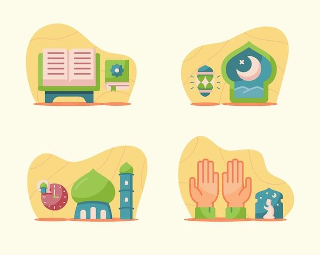 Illustrazioni di ramadan ambientate in un moderno stile piatto