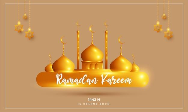Il ramadan sta arrivando design con moschea e stelle