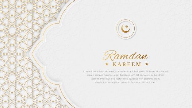 Bnner islamico ornamentale di lusso elegante arabo di ramadan kareem con bordo del modello islamico e ornamento decorativo