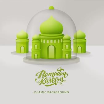 Sfondo di ramadan kareem con moschea 3d