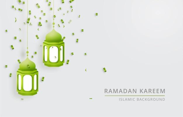Sfondo ramadan kareem con lanterna lampada
