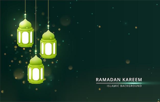 Sfondo ramadan kareem con luce della lampada