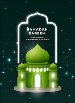 Sfondo di ramadan kareem con stella notturna e moschea