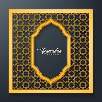 Sfondo di ramadan kareem con cornice picchiettata senza soluzione di continuità