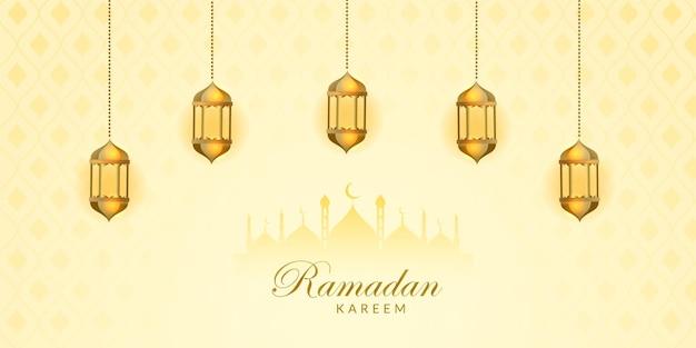 Banner design ramadan kareem con lampada dorata