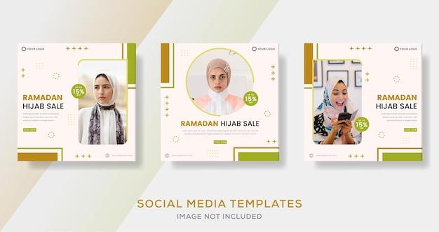 Banner di ramadan kareem per post del modello sociale dei media di vendita di moda hijab
