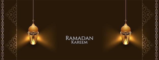 Banner di ramadan kareem con eleganti lanterne luminose