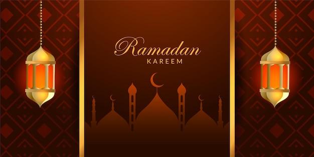 Ramadan kareem bellissimo design di banner con lampada
