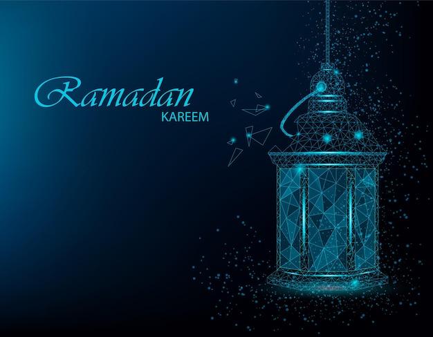 Bellissimo biglietto di auguri ramadan kareem con lanterna araba tradizionale