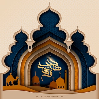 Calligrafia di ramadan kareem, silhouette della moschea di tonalità di colore della terra e scena notturna del deserto in stile art paper