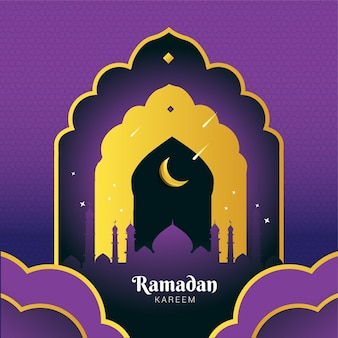 Carta di ramadan kareem con silhouette moschea, luna e stelle cadenti