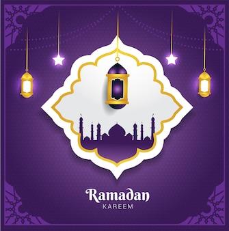 Carta di ramadan kareem con sfondo viola