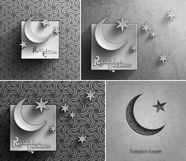 Biglietti di auguri per la celebrazione del ramadan kareem per il mese sacro della comunità musulmana, Vettore Premium