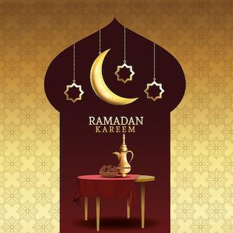 Celebrazione del kareem del ramadan con la teiera in tavola