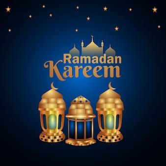 Progettazione di ramadan kareem. illustrazione del ramadan con luna dorata e lanterna