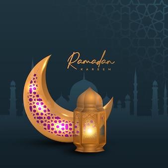 Design ramadan kareem con lanterna dorata e luna su sfondo silhouette moschea