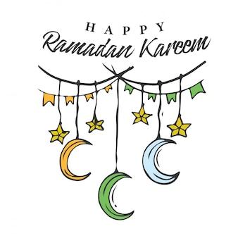 Ramadan kareem doodle banner con stella sospesa e mezzaluna