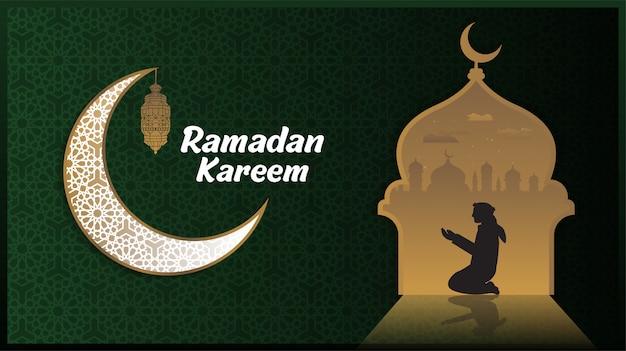 Ramadan kareem o eid mubarak sfondo design islamico con luna e lanterna modello classico.