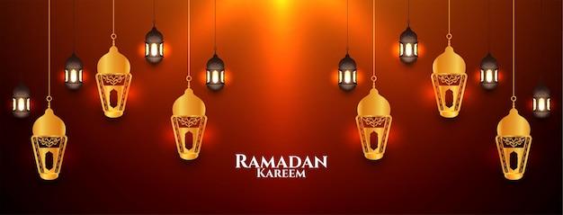 Fondo alla moda di festival di ramadan kareem con il vettore delle lanterne