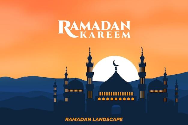 Montagna di tramonto della moschea del paesaggio piatto di ramadan kareem