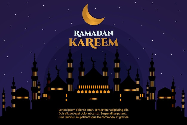 Ramadan kareem moschea piatta luna notte luce dorata
