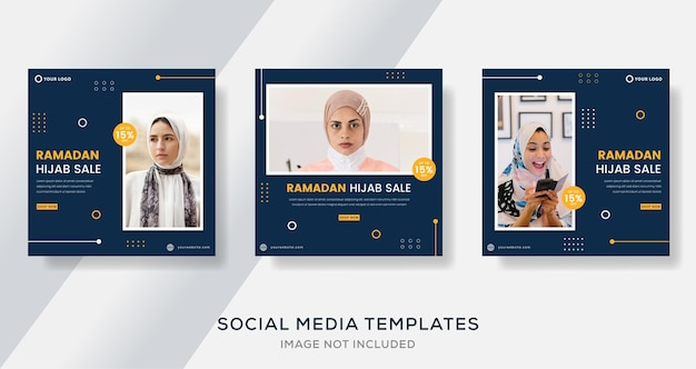 Ramadan kareem per post modello di banner hijab moda ragazza