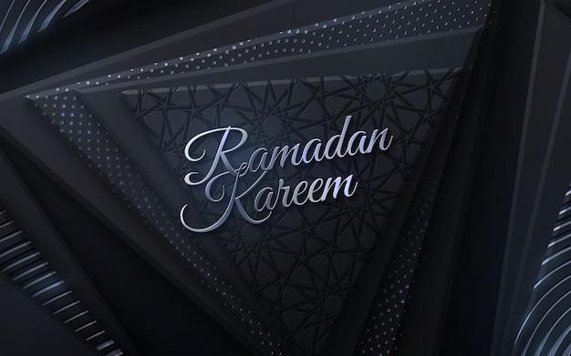Segno d'oro ramadan kareem su forme geometriche nere e modello tradizionale girih