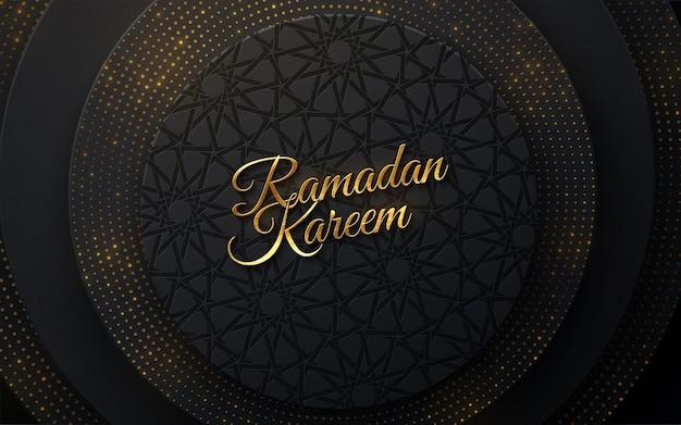 Segno dorato di ramadan kareem su sfondo nero papercut con motivo girih e luccica