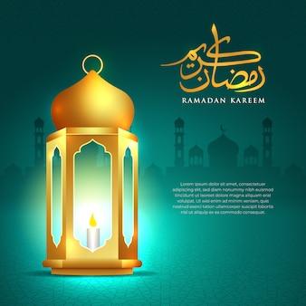 Lanterna islamica di simbolo della carta da parati del fondo di saluto di ramadan kareem con l'illustrazione araba del modello