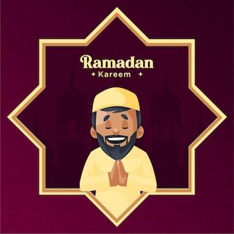 Modello di disegno di cartolina d'auguri di ramadan kareem su sfondo colorato