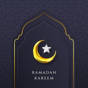 Ramadan kareem biglietto di auguri modello islamico con moschea e bella falce di luna e stella nera e oro