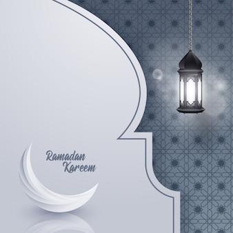 Modello di biglietto di auguri ramadan kareem islamico con motivo geomterico.