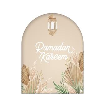 Modello di biglietto di auguri di ramadan kareem con oasi marocchina