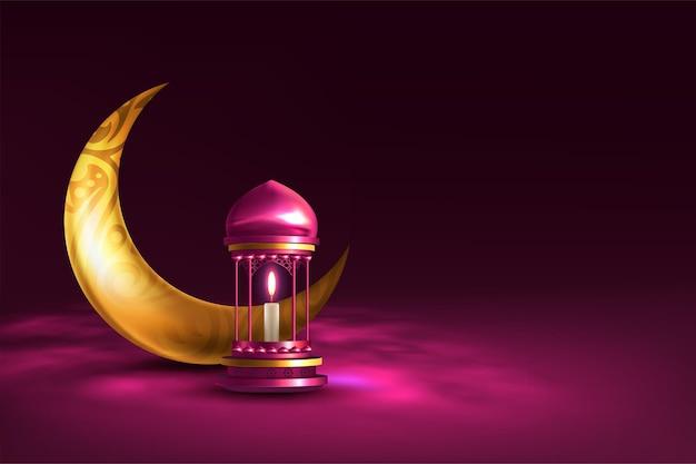 Cartolina d'auguri di ramadan kareem con lampada e luna