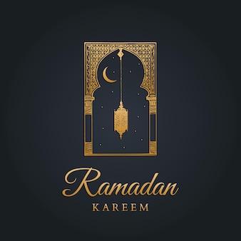 Cartolina d'auguri di ramadan kareem con calligrafia. arco orientale abbozzato a mano, lanterna, luna nuova e stelle.