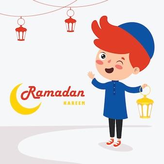 Cartolina d'auguri di ramadan kareem con bambino, lampade e falce di luna