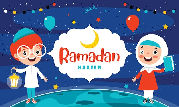Biglietto di auguri ramadan kareem con bambini e accessori festivi